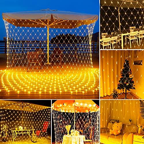 200 LED Lichternetz Netz Lichterkette 3 x 2m Warmweiß, Mesh Lichtervorhang mit Fernbedienung Timer 8 Modi für Weihnachten, Halloween, Hochzeit,...