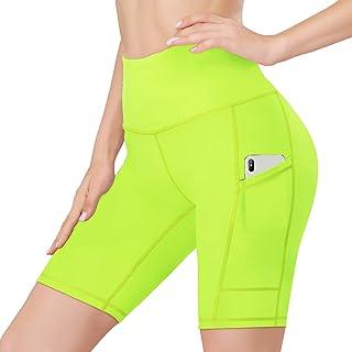 "HISKYWIN 5""/8"" Inseam High Waist Women Yoga Shorts Tummy Control Stretch Workout Running Shorts with Pockets"