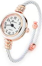 White Rose Gold Cable Band Geneva Women's Petite Bangle Watch