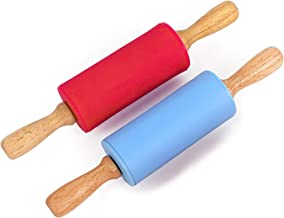 HONGLIDA 9 Inch Mini Rolling Pin for Kids,Non-stick Surface Wood Handle,Blue & Red,2 Pack