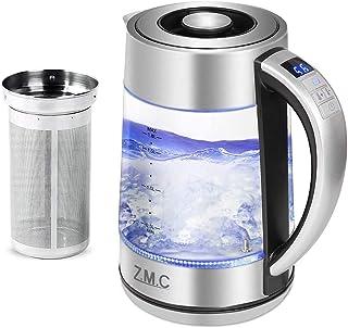 Bouilloire réglable de la température en verre et acier inoxydable - Théière avec lumière LED - Sans BPA - Thermomètre int...