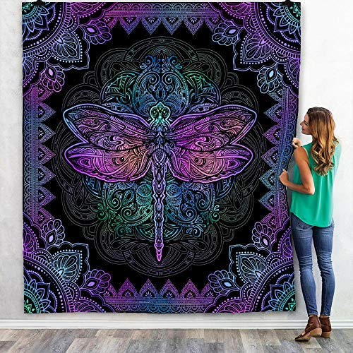 Mandala Dragon Fly Quilt, Buddha Yoga Blanket, Purple Colorful Gifts for Son, Daughter, Granddaughter, Grandson from Mom, Dad, Grandma, Grandpa Bed Throw, Quilt King 80 x 90 inches