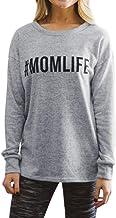 Ezcosplay Women's Long Sleeve MOM Life Print Casual Graphic Tee T-Shirt Top Sweatshirt