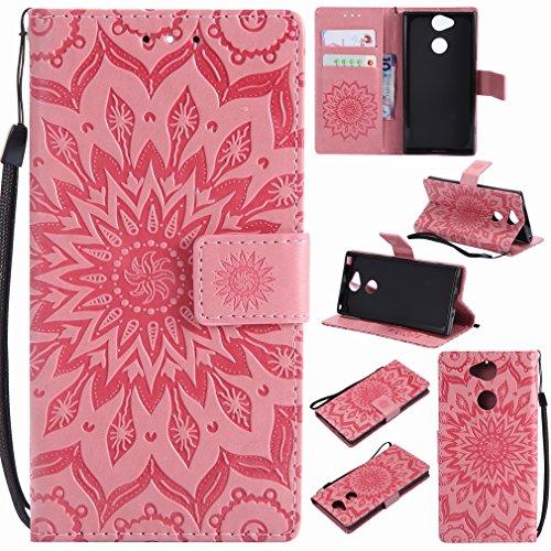 Laybomo Funda para Sony Xperia XA2 Carcasa Bolsa Tapa Cuero Billetera Magnética Protector Silicona Suave TPU Flip Cover Funda para Sony Xperia XA2 Avec Fente pour Carte, Estampado de Flores (Rose)