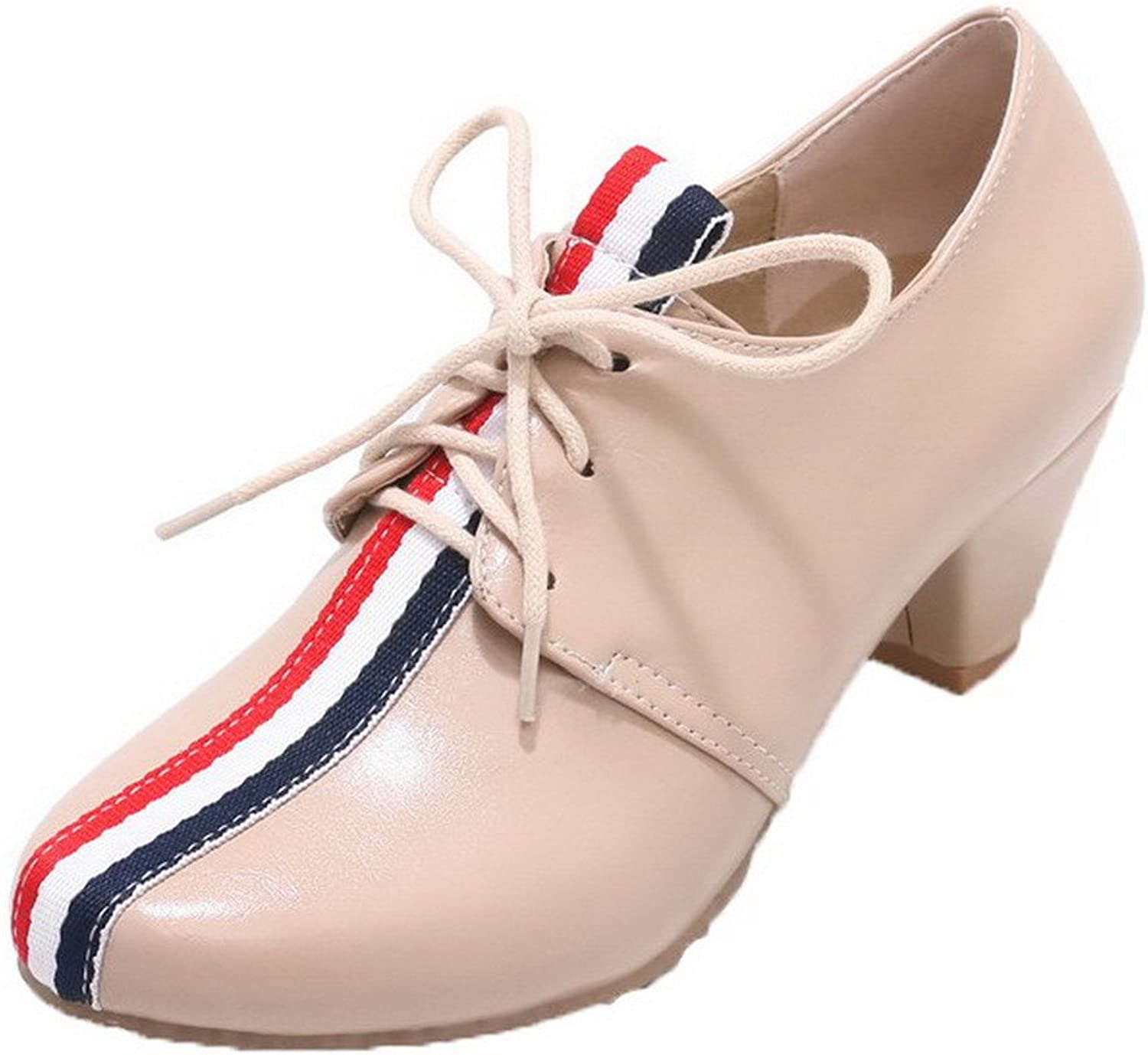 AllhqFashion Women's Kitten-Heels Lace-up Round Closed Toe Court shoes