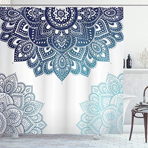 ABAKUHAUS Flora Duschvorhang, Vibrierende farbige Nette Mandala, Set inkl.12 Haken aus Stoff Wasserdicht Bakterie & Schimmel Abweichent, 175 x 180 cm, Blassblau Dunkelblau