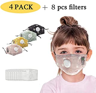 Children's Breathable Mask with Filters Dust proof PM2.5 for Kids Children Reusable Mouth-muffle Face Mask Cover (4 Colors)