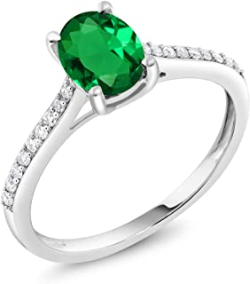 10K White Gold Pave Diamond Engagement Solitaire Ring set with 8x6mm Oval Simulated Emerald 1.10 ct (Available 5,6,7,8,9)