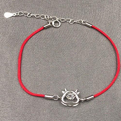 Lucky Charm Bracelet 2021 Año del OX S925 STRYL Sterling Cour Cure LA Pulsera DE Zircon ATENDIBLE ATRATAR EL Dinero SURBE SURBE Ward Off Off Spirits,Plata