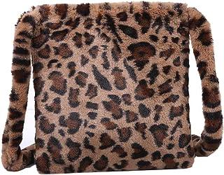 freneci Fluffy Female Ladies Handbag Large Capacity Fashion Leopard Print Crossbody Bag Women Plush Soft Casual Shoulder M...