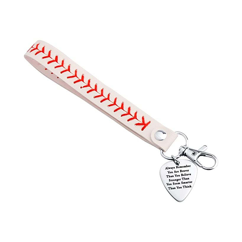 White Yellow Leather Baseball Bracelet Keychain Jewelry Always Remember You are Braver Gift