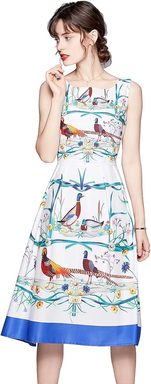 HAOKEKE Women Summer Printing Tank Dress Sleeveless Slim Waist Fit A-line Midi Dress Casual Sundress