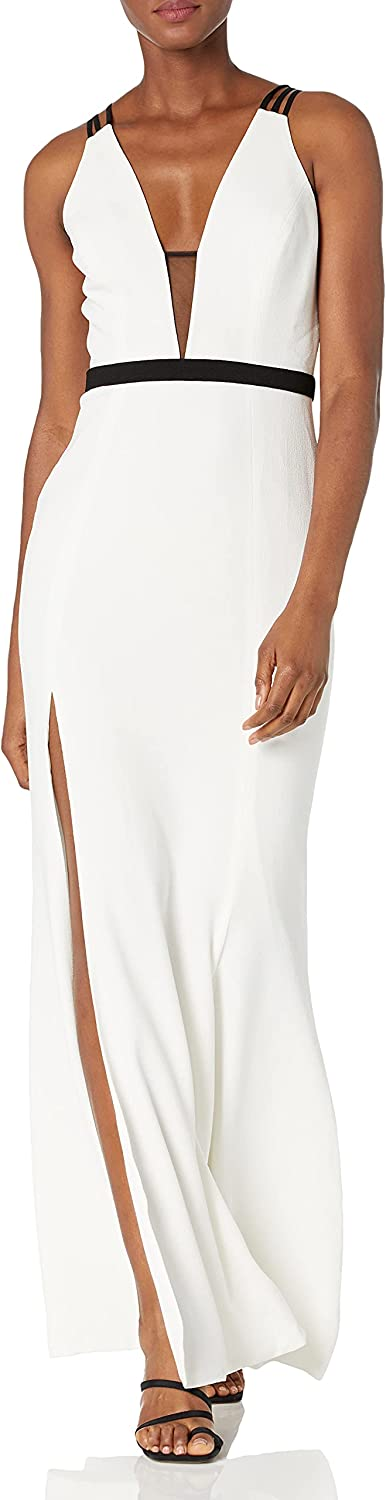 Dress the Population Women's Lana Plunging Long Mermaid Solid Crepe Gown Maxi Dress, Off White, M