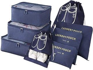 Organizador de Equipaje,8 en 1 Set de Organizadores de Viajes, Impermeable Organizador de Maleta Bolsa Incluir 3 Cubos de Embalaje,3 Bolsos de la Compresión y 2 Bolsas de Zapatos (Azul Oscuro)