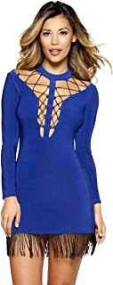 Musotica Double Strappy Lace-up Dress with Hanging Fringe Detail