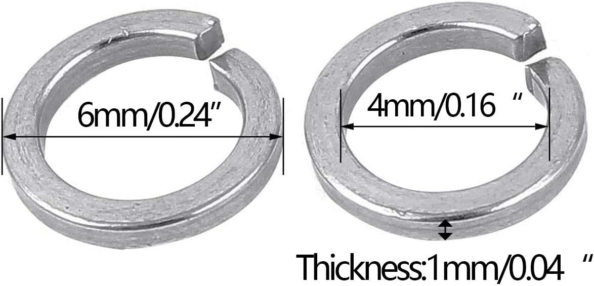 0.16ID, Stainless Steel 304 200Pcs 18-8 L-A M4 Stainless Steel Split Lock Spring Washers Screw Gasket