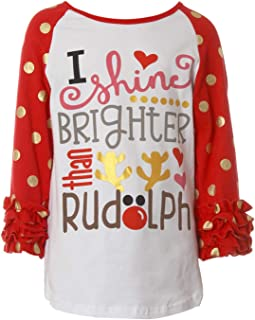 Little Girl Kids Rudolph Polka Dot Sleeve Christmas Raglan Cotton Top Tee T-Shirt Red 5 (Z28X3)