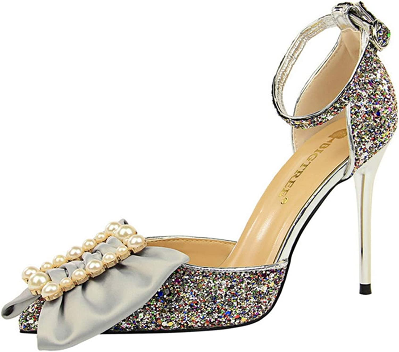 Owen Moll Women Pumps, Autumn Thin High Heels Pearls Butterfly-Knot Bling Wedding shoes