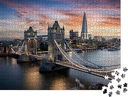 Vista aérea de los Iluminados de la Torre y El Puente de Londres,reino unido Horizonte justo Después de la puesta de sol Rompecabezas para Adultos 1000 Pieza,Madera Rompecabezas de la Familia de que