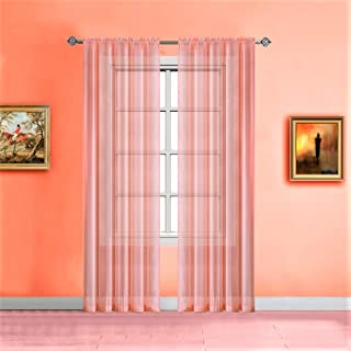 Warm Home Designs Pink Orange (Coral) Sheer Window Curtains. Each Voile Drape is 56 X 84 Inches. Great for Kitchen, Living Room, Bedroom, or Kids Room. 2 Fabric Panels Per Package. Color: Coral 84