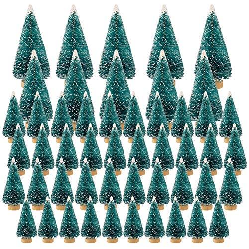 Aiboria 50 STK. Mini Weihnachtsbaum Kunststoff Winter Schnee Ornamente Tisch Modellbäume - Künstliche gefrostete Sisal Bäume für Weihnachten Party Home Holiday Dekoration (Blaugrün)
