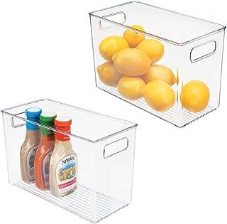 mDesign boîte de Rangement avec poignées (Lot de 2) – boîte pour frigo Haute pour Ranger Les Aliments – boîte en Plastique...