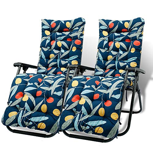 2Pcs Sun Lounger Cushion Pad Thick Garden Recliner Chair Cushion Replacement Sunbed Cushions with Anti Slip Hood and Ties Garden Furniture Chair Recliner Cushion Padded Mat for Garden Indoor Outdoor