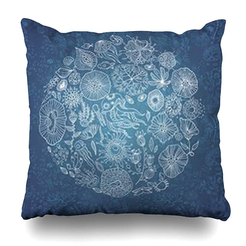 LifeCO Throw Pillow Cover Pillowcase Bubbles Blue Aquarium Underwater Life Jellyfish Fish Fantasy Seaweed Abstract Wildlife Aquatic Home Decor Sofa 20
