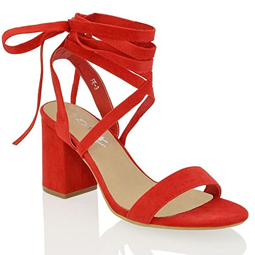 850005ab21 ESSEX GLAM Womens Chunky Block Low Mid Heel Lace Up Strappy Sandal Faux  Suede Shoes