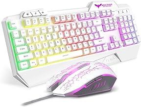 Havit Keyboard Rainbow Backlit Wired Gaming Keyboard Mouse Combo, LED 104 Keys USB Ergonomic Wrist Rest Keyboard, 3200 Dots Per Inch 6 Button Mouse for Windows Gamer Desktop, Computer (White)