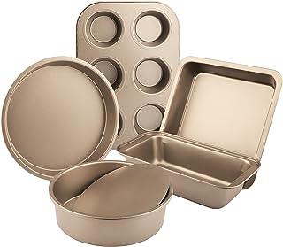IAXSEE 5-Piece Bakeware Set Includes Nonstick Cake Pans/Loaf Pan/Cupcake Pan/Pizza Pan/Cookie Pan, Carbon Steel Baking Pan...