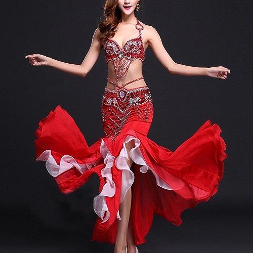 MoLiYanZi Belly Dance Jupe Exécution Mousseline Fishtail Robe de Danse du Ventre Ensemble avec Bord Brillant Costumes de Danse