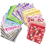 "Foraineam 300Pcs 4"" x 4"" (10cm x 10cm) 60 Designs Assorted Cotton Craft Fabric Bundle Printed Patchwork Squares for DIY Sewing Quilting Scrapbooking"