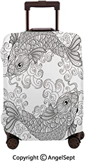 Luggage Cover Suitcase Protector,Traditional Koi Fish Pattern with Ethnic Ornaments Culture Grey White,23.6x31.9inches,Stretchy Dustproof Travel Protector Cover