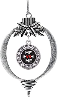 Inspired Silver - Me vs Me Charm Ornament - Silver Circle Charm Holiday Ornaments with Cubic Zirconia Jewelry