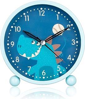 Barn väckarklocka med nattlampa, väckarklocka barn analog, sovrum snooze funktion klocka, kompakt icke-tickande säng resa ...