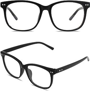 GQUEEN Grand cadre surdimensionné corne clair lunettes transparentes PE1