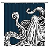 Octopus Tentacles Shower Curtain Sea Monster Kraken Ocean Abstract Sketch Art Blue Black Bathroom Curtains Decor Polyester Fabric Quick Drying 70X70 Inches Include Hooks