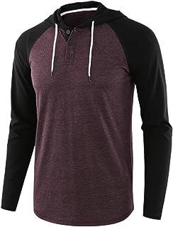XLDD Men's Casual Regular Fit Raglan Long Sleeve Baseball Henley T-Shirts Sweatshirt Lightweight Pullover Hoodies Casual H...