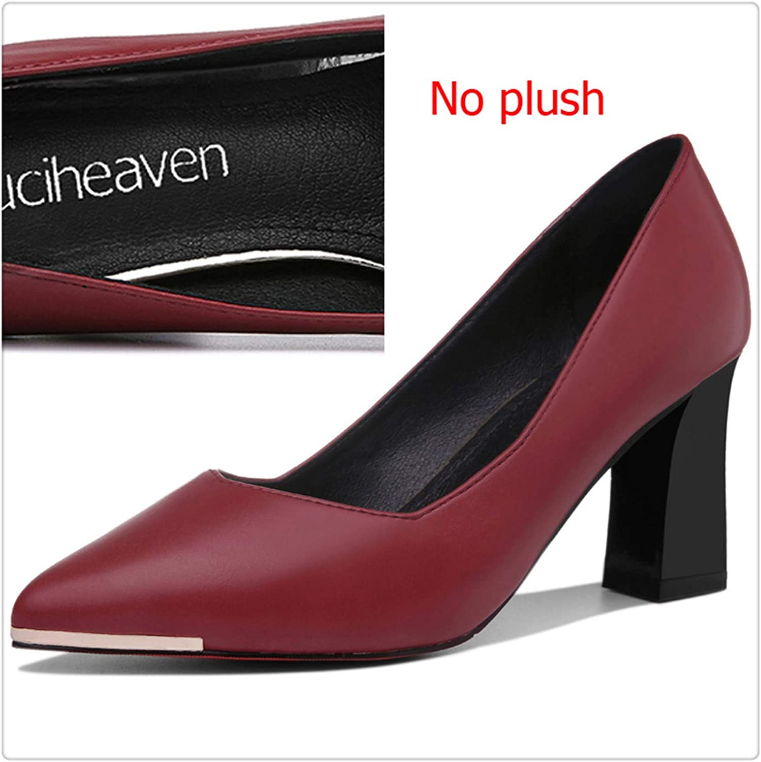 Shallow Pumps Dress Office High Heels 7.5cm Pointed Toe Red Sole Add Short Plush