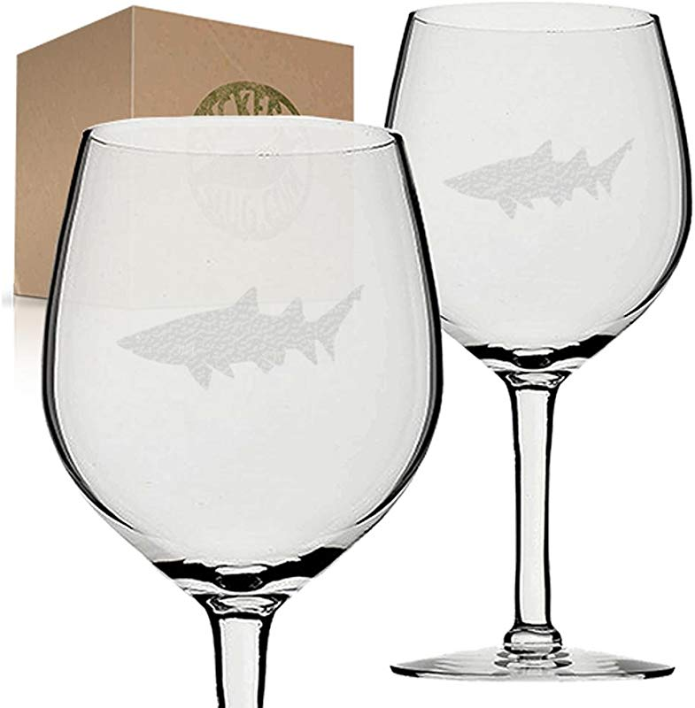 Stickerslug Engraved Shark Wine Glasses 11 Ounce Set Of 2