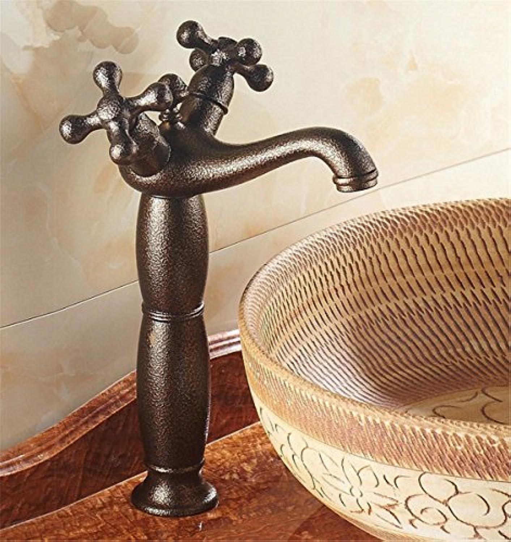 DMNJD Moderne einfacheKupfer hei und kalt Wasserhhne Küchenarmatur Heies und kaltes Wasser Keramikventil Einlochmontage Doppelgriff Badezimmer-Waschtischmischer Geeignet für alle Badezimmer-