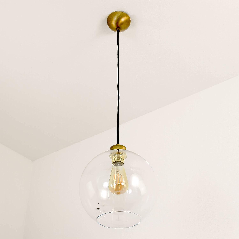 Einfache Pendelleuchte (Tiefe bis: 1,1m, E27, Klassisch, Klar, Messing, Kugelform) Küchenlampe Ball-Leuchte Hängeleuchte Hängelampe Pendellampe Altmessing, Klar
