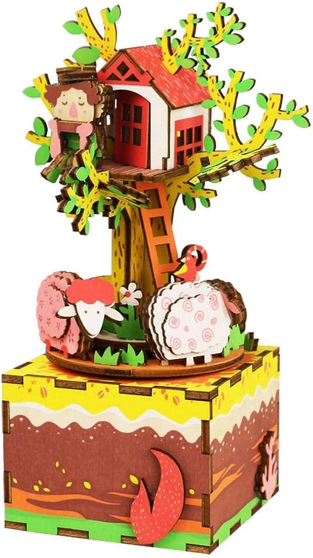 al precio mas bajo OJ DIY Caja de música Ornamentos de los Artes Caja Caja Caja de música giratoria casa del árbol decoración casera Regalo Creativo  el mejor servicio post-venta