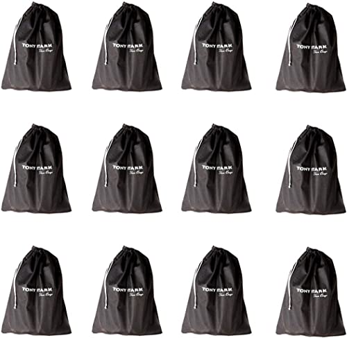 Fabric Shoe Bags Set of 12 Black TS SB S12