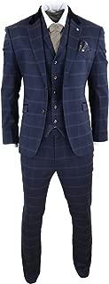 Mens Herringbone Tweed Navy Blue Check 3 Piece Vintage Suit Peaky Blinders Tan Navy
