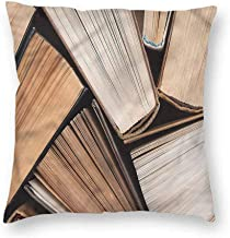 Mannwarehouse Abstract Personalized Pillowcase Pile of Old Book Library Machine washableW16 x L16