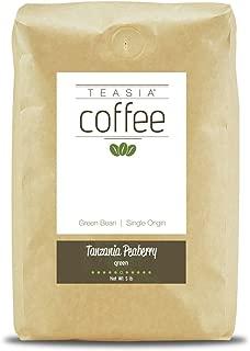 Teasia Coffee, Tanzania Peaberry, Single Origin, Green Unroasted Whole Coffee Beans, 5-Pound Bag