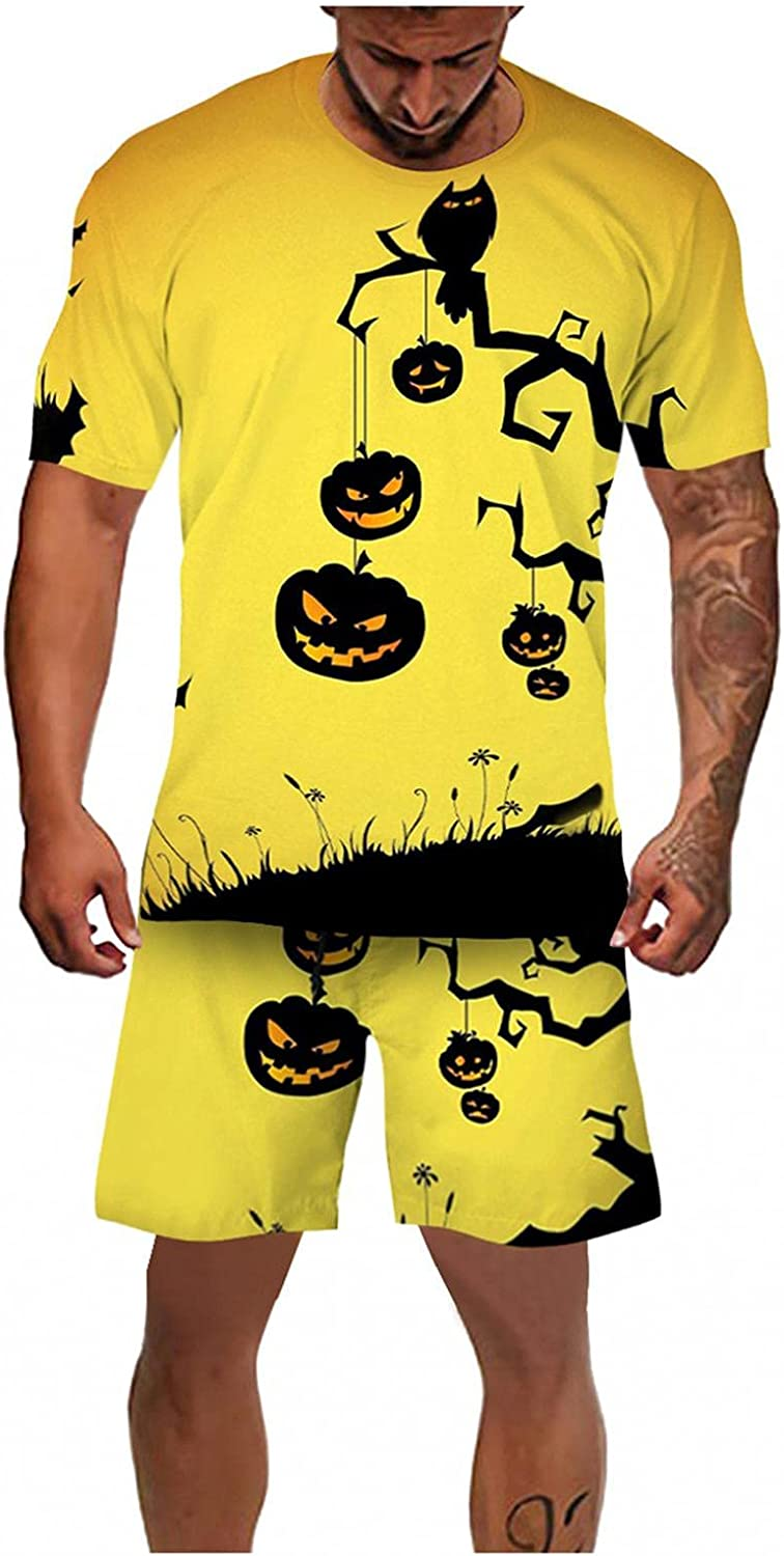 Men's Halloween 2 Piece Tracksuits Novelty 3D Print Graphic Pullover Shirts & Shorts Outfit Funny Horrible Festival Se
