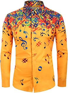 Mens Regular-Fit Long Sleeve Shirt,QueenMM Musical Note Graphic Button Down Casual Tops Novelty Lapel T-Shirt